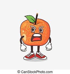Pluots Fruit cartoon mascot character with angry face