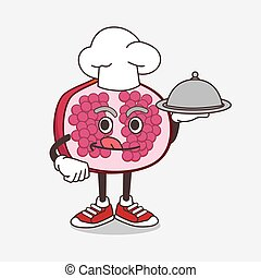 Pomegranate Fruit cartoon mascot character as a Chef with food on tray ready to serve