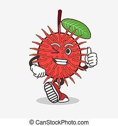 Rambutan Fruit cartoon mascot character making Thumbs up gesture