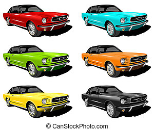 Mustangs - An illustration of red,Cyan,Green,Orange,Yellow...