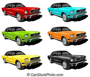 Mustangs - An illustration of red,Cyan,Green,Orange,Yellow...