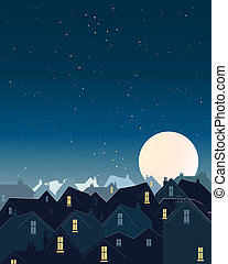 an illustration of rooftops with lighted windows under a dark starry sky and a big harvest moon