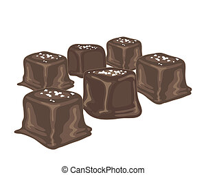 an illustration of salted caramel candies coated with chocolate on a white background