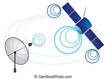 Illustration of Satellite and Satellite Dish for Communication and Media Industry, Symbolizing Global Communications