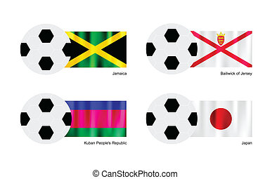 An Illustration of Soccer Balls or Footballs with Flags of Jamaica, Bailiwick of Jersey, Kuban and Japan on Isolated on A White Background.