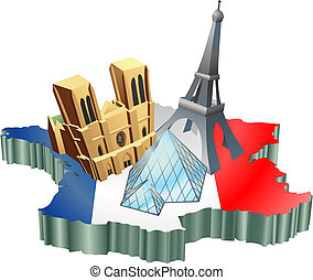 An illustration of some tourist attractions in France, signifies French tourism