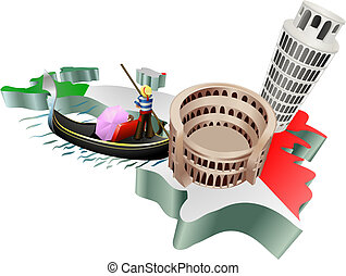 An illustration of some tourist attractions in Italy, signifies Italian tourism