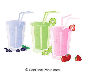 an illustration of strawberry kiwi and blackberry smoothies garnished with fruit and isolated on a white background