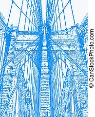 Bridge - An illustration of the Brooklyn Bridge.