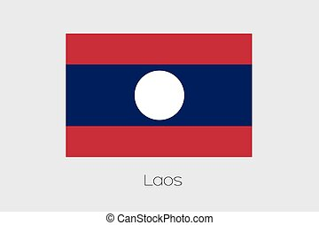 Illustration of the flag, with name, of the country of Laos...