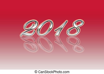 illustration of the new year 2018 on a red background