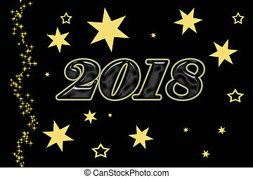 illustration of the new year 2018 on a red background with gold stars