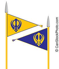 nishan sahib - an illustration of the nishan sahib the flag...