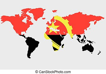 Illustration of the world with the flag of Angola