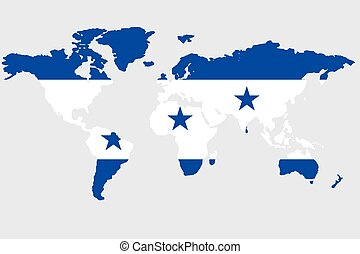 Illustration of the world with the flag of Honduras
