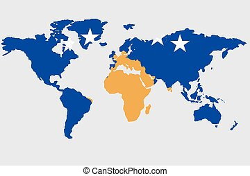 Illustration of the world with the flag of Kosovo