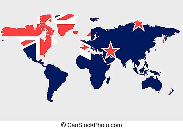 Illustration of the world with the flag of New Zealand