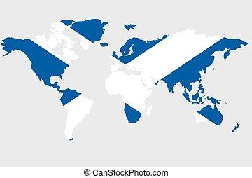 Illustration of the world with the flag of Scotland