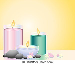 an illustration of three scented candles with pebbles and floers on a flame background