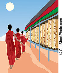 prayer wheels - an illustration of tibetan monks spinning...