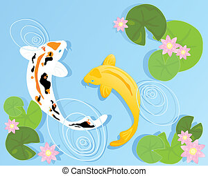 an illustration of two beautiful koi carp swimming in a clear pool with rippled water lilly leaves and pink flowers