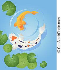 koi - an illustration of two beautiful koi carp swimming in...