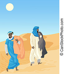 bedouin - an illustration of two bedouins walking through...