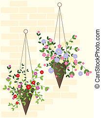 hanging basket - an illustration of two decorative hanging...