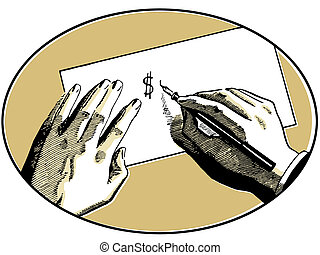 An illustration of two hands on a desk writing a dollar...
