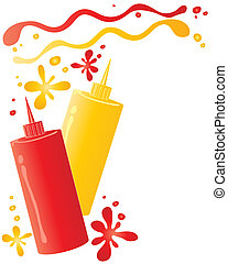an illustration of two sauce bottles containing ketchup and mustard with spots and splashes isolated on a white background