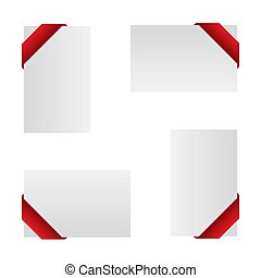 Illustration of White card with a red ribbon