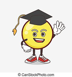 Yellow Ball Emoticon cartoon mascot character in a black Graduation hat