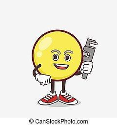 Yellow Emoticon cartoon mascot character as happy plumber