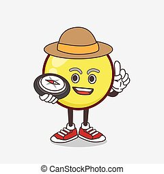 Yellow Emoticon cartoon mascot character having a compass