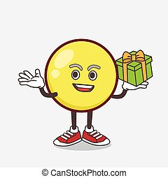 Yellow Emoticon cartoon mascot character with a box of gift