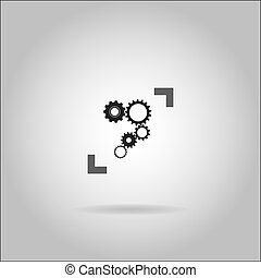 Illustration on grey background with shadow - Cogs
