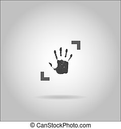 Illustration on grey background with shadow - Handprint