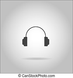 Illustration on grey background with shadow - Headphones