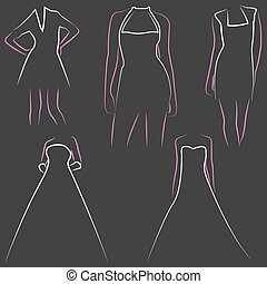 illustration set of various beautiful model women in dresses