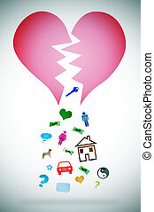 divorce - an illustration with a broken heart symbolizing...