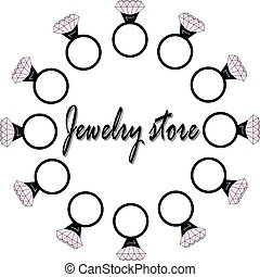 An illustration with rings for a jewelry store.