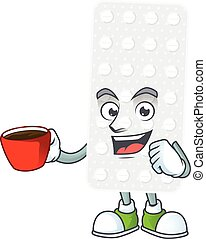 An image cartoon character of pills with a cup of coffee. ...