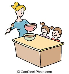 baby sitter cooking for children - An image of a baby sitter...