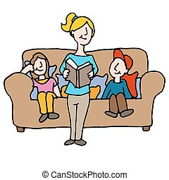 baby sitter reading to children - An image of a baby sitter...