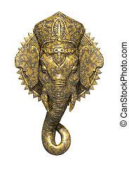 An image of a beautiful golden ganesh sculpture