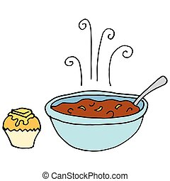 Bowl of chili and cornbread muffin - An image of a Bowl of...