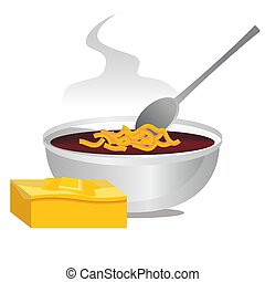 Bowl of Chili and Hot Buttered Cornbread - An image of a...