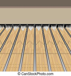 Bowling Alley Lane Pins Game - An image of a Bowling Alley...