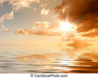 sunset ocean - An image of a bright sunset ocean background