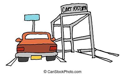 car parked next to a cart return